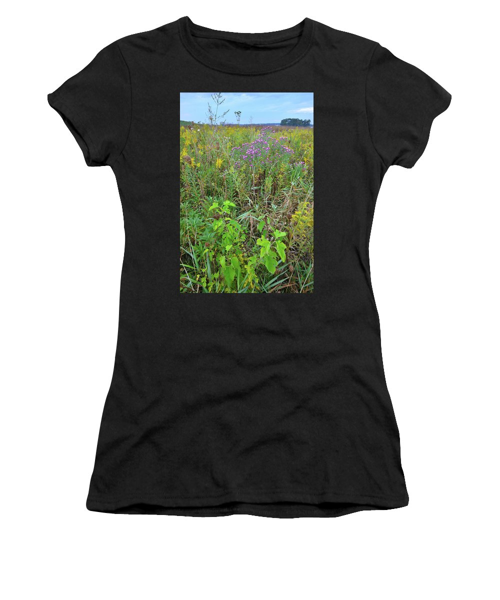 Glacial Park Women's T-Shirt (Athletic Fit) featuring the photograph Glacial Park Native Prairie by Ray Mathis