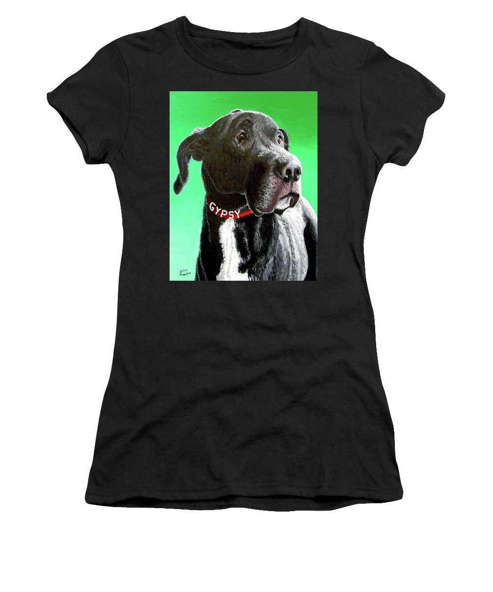 Dog Portrait Women's T-Shirt (Athletic Fit) featuring the painting Gypsy by Stan Hamilton
