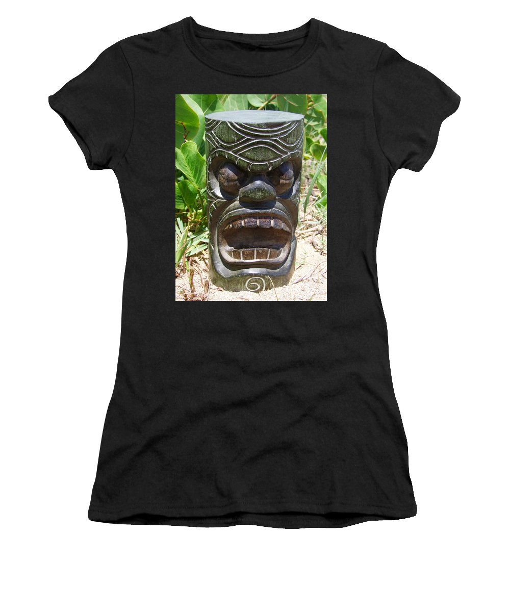 Mary Deal Women's T-Shirt (Athletic Fit) featuring the photograph Hawaiian Tiki God Ku by Mary Deal