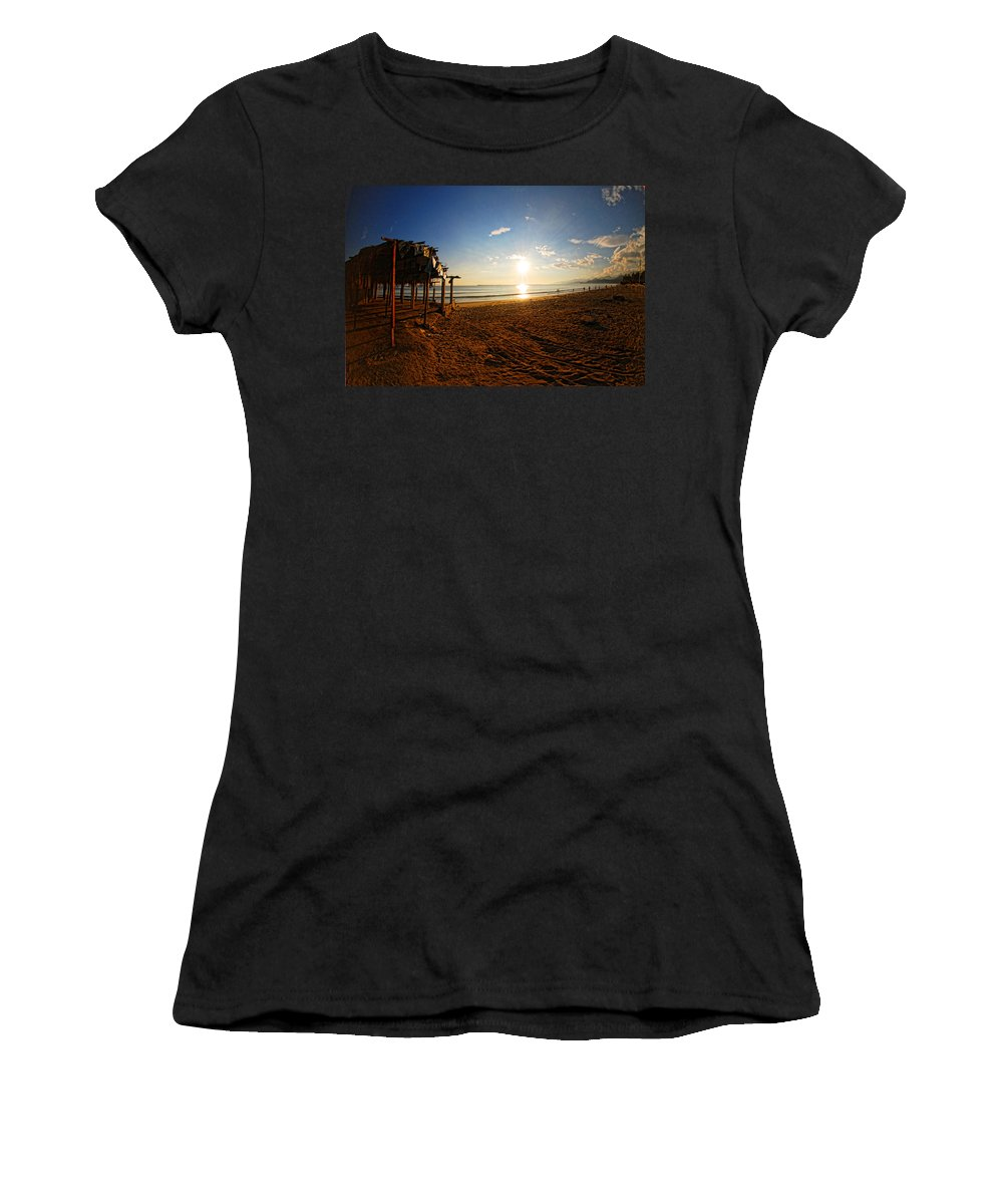 Beach Sea Women's T-Shirt (Athletic Fit) featuring the photograph Huequito Beach by Galeria Trompiz