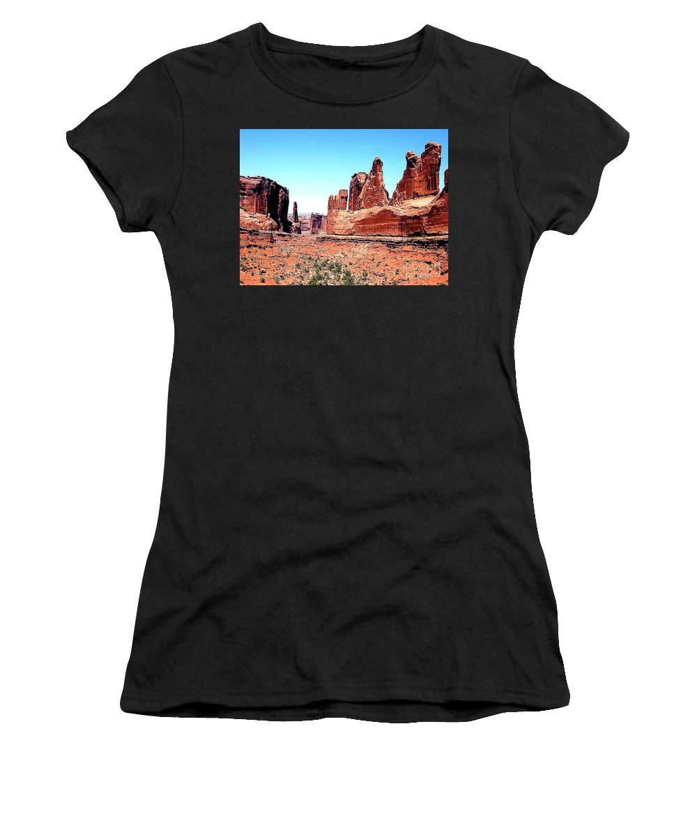 Arizona Women's T-Shirt (Athletic Fit) featuring the photograph In Monument Valley, Arizona by Merton Allen