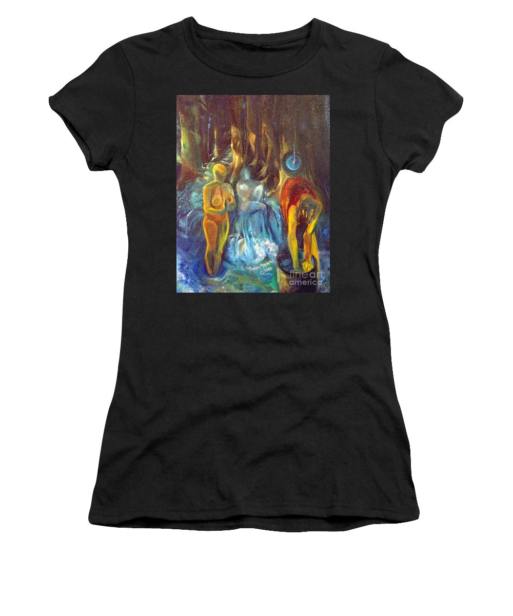 Oil Painting Women's T-Shirt featuring the painting In The Name Of The Mother Sister Daughter by Daun Soden-Greene