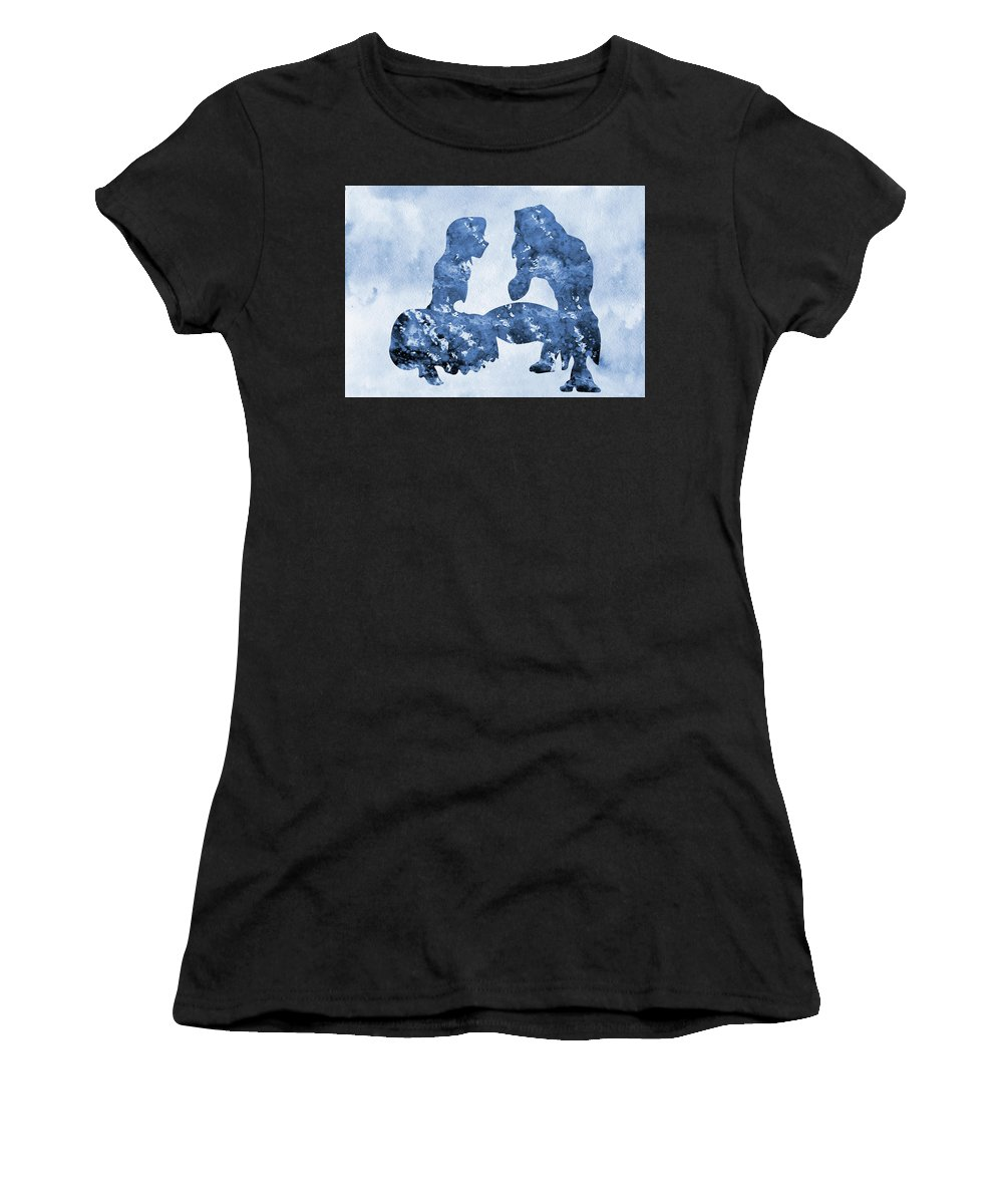 Tarzan And Jane Women's T-Shirt (Athletic Fit) featuring the digital art Jane And Tarzan-blue by Erzebet S