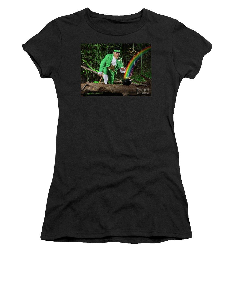 Leprechaun Women's T-Shirt featuring the photograph Leprechaun With Pot Of Gold by Oleksiy Maksymenko