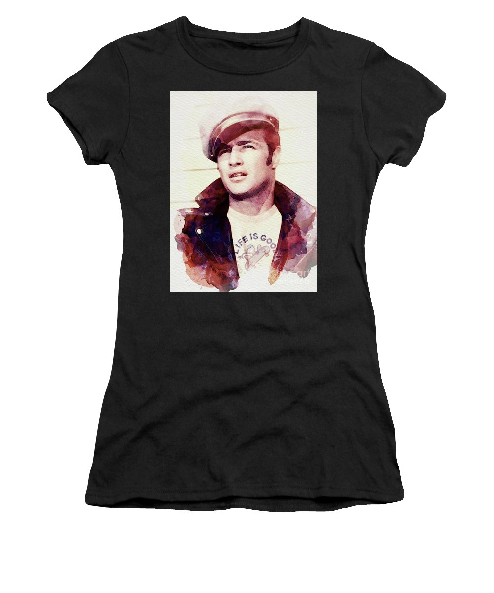 Marlon Women's T-Shirt (Athletic Fit) featuring the digital art Marlon Brando by John Springfield