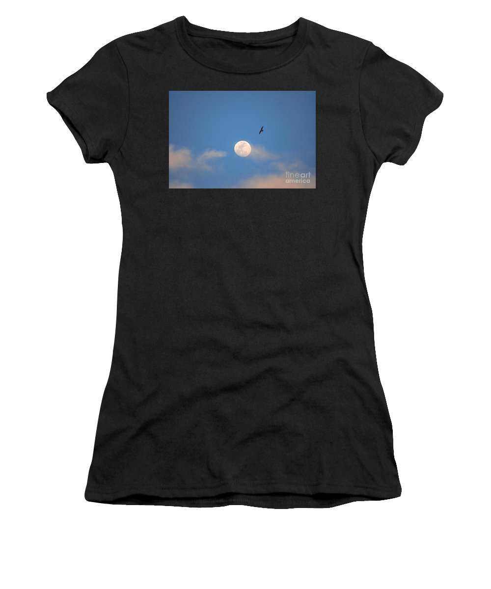 Moon Women's T-Shirt featuring the photograph 2- Moon Bird by Joseph Keane