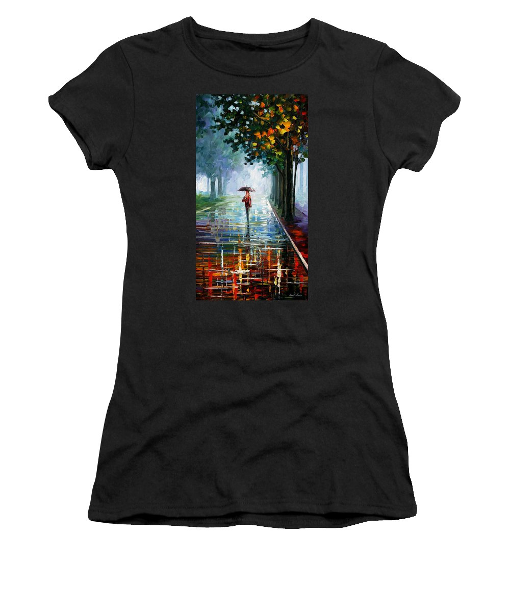 Landscape Women's T-Shirt (Athletic Fit) featuring the painting Morning Fog by Leonid Afremov