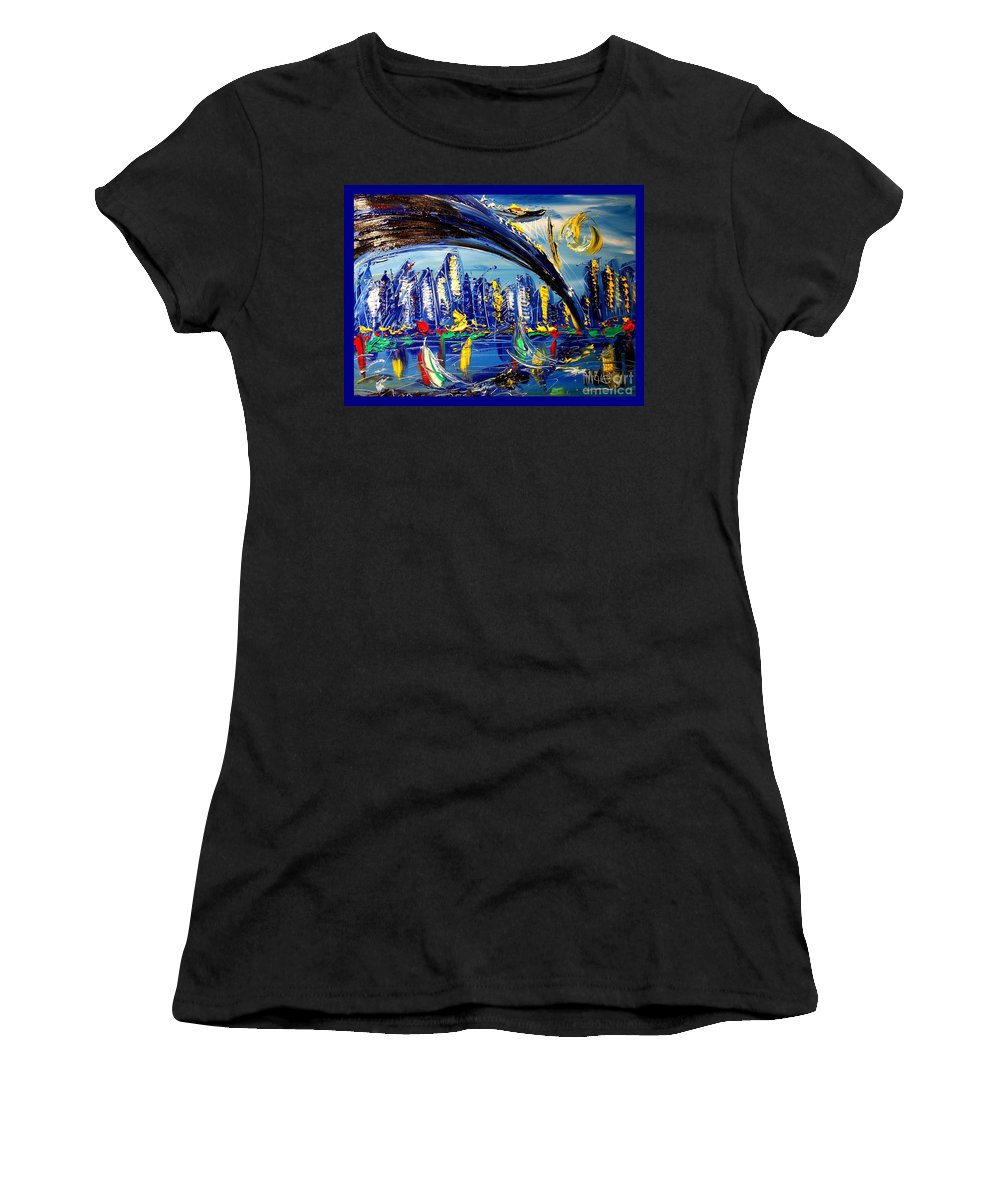 New York Women's T-Shirt (Athletic Fit) featuring the painting NYC by Mark Kazav