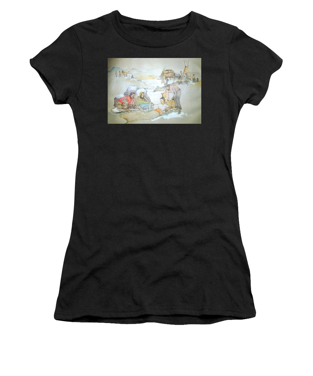 Western. Chow Time. Chuckwagon. Music Women's T-Shirt (Athletic Fit) featuring the painting ole West my way album by Debbi Saccomanno Chan