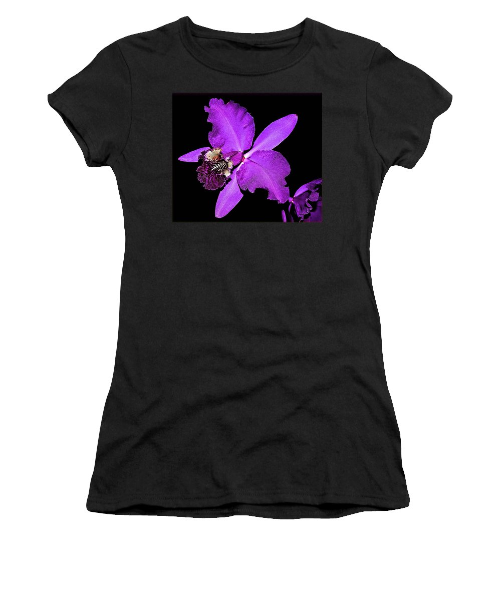 Orquid Women's T-Shirt (Athletic Fit) featuring the photograph Orchid by Galeria Trompiz