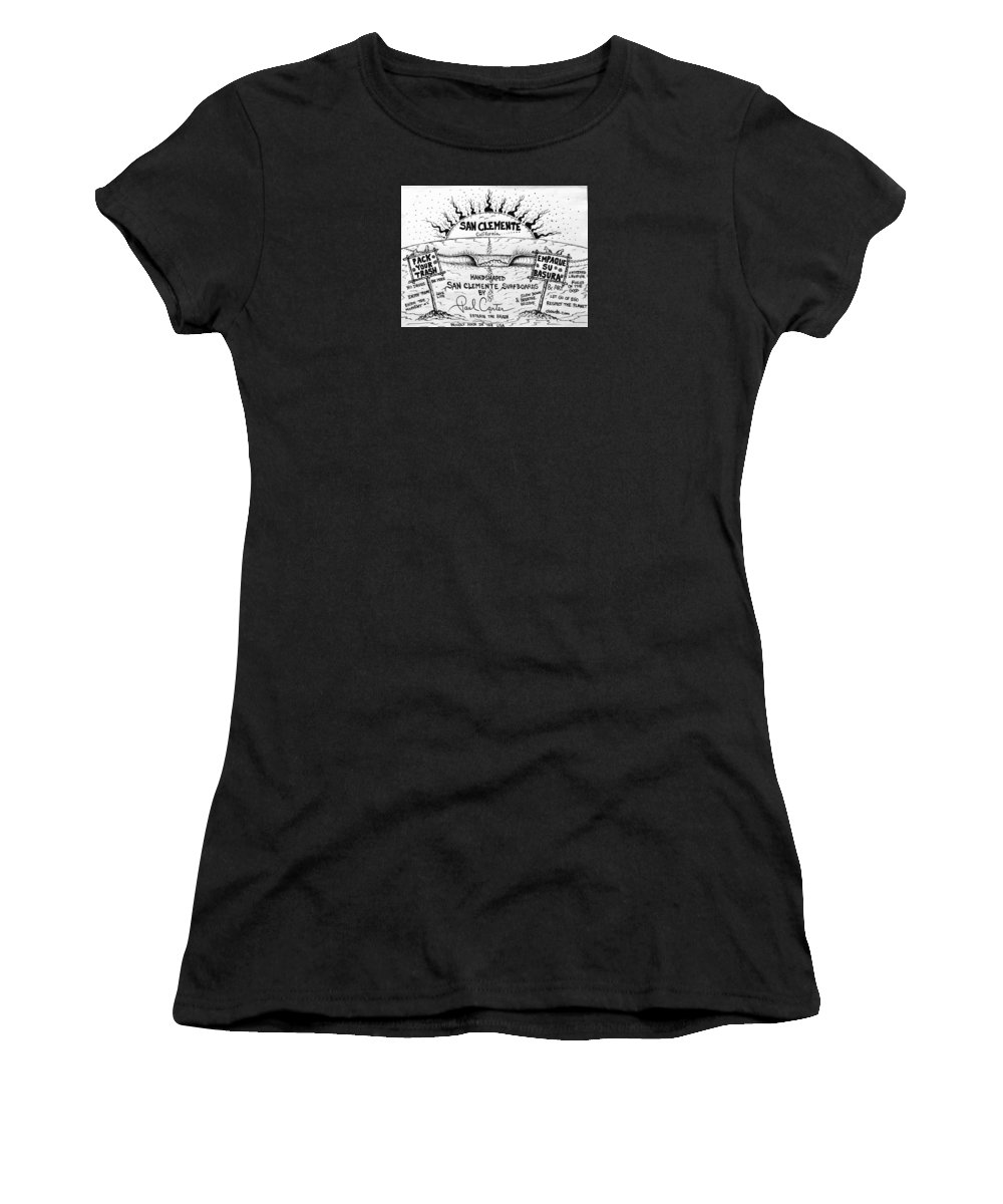 Surfart Women's T-Shirt featuring the drawing Pack Your Trash by Paul Carter