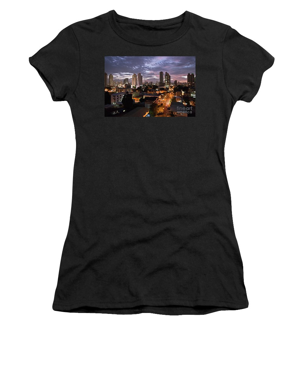Heiko Women's T-Shirt (Athletic Fit) featuring the photograph Panama City At Night by Heiko Koehrer-Wagner