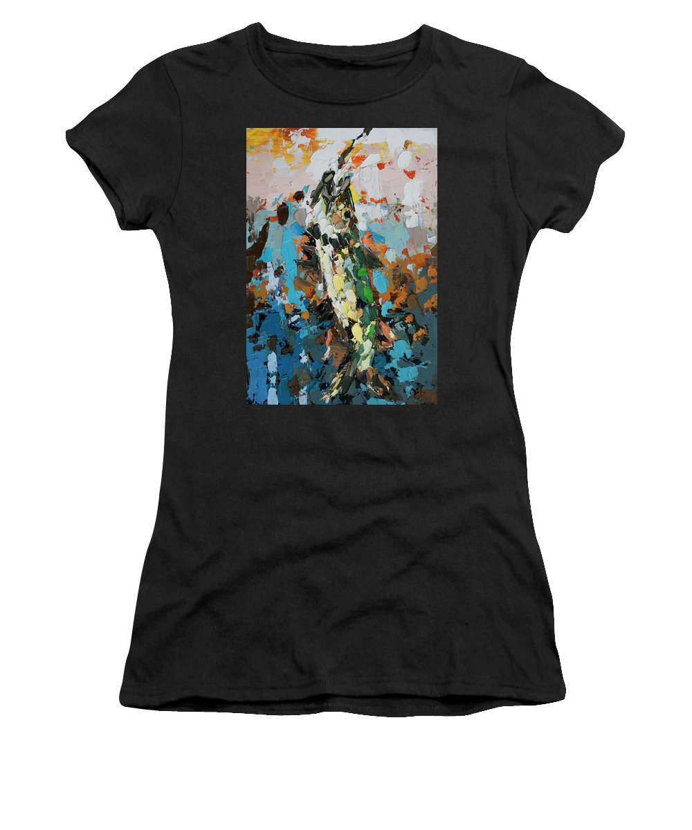 Pike In Action Women's T-Shirt featuring the painting Pike In Action by Mentor Berisha