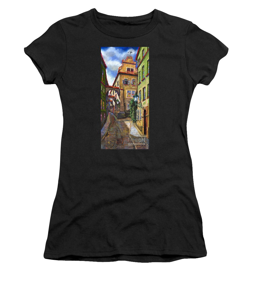 Prague Women's T-Shirt (Athletic Fit) featuring the painting Prague Old Street by Yuriy Shevchuk