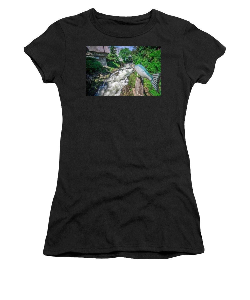 Salmon Women's T-Shirt featuring the photograph Salmon Hatchery Creek In Mountains Of Alaska by Alex Grichenko