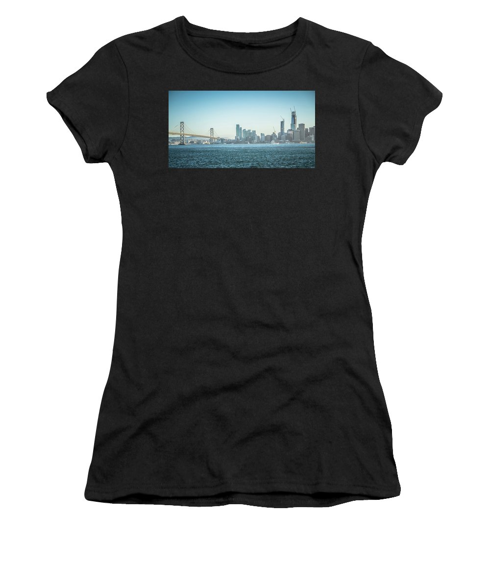 Downtown Women's T-Shirt (Athletic Fit) featuring the photograph San Francisco California City Skyline At Spring Sunset by Alex Grichenko