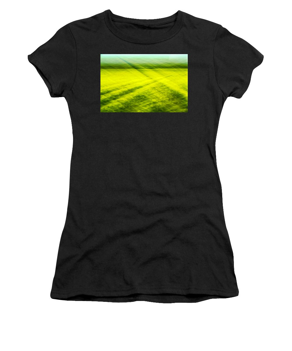 Daffodils Women's T-Shirt (Athletic Fit) featuring the photograph Skagit Valley Daffodils by Bob Stevens