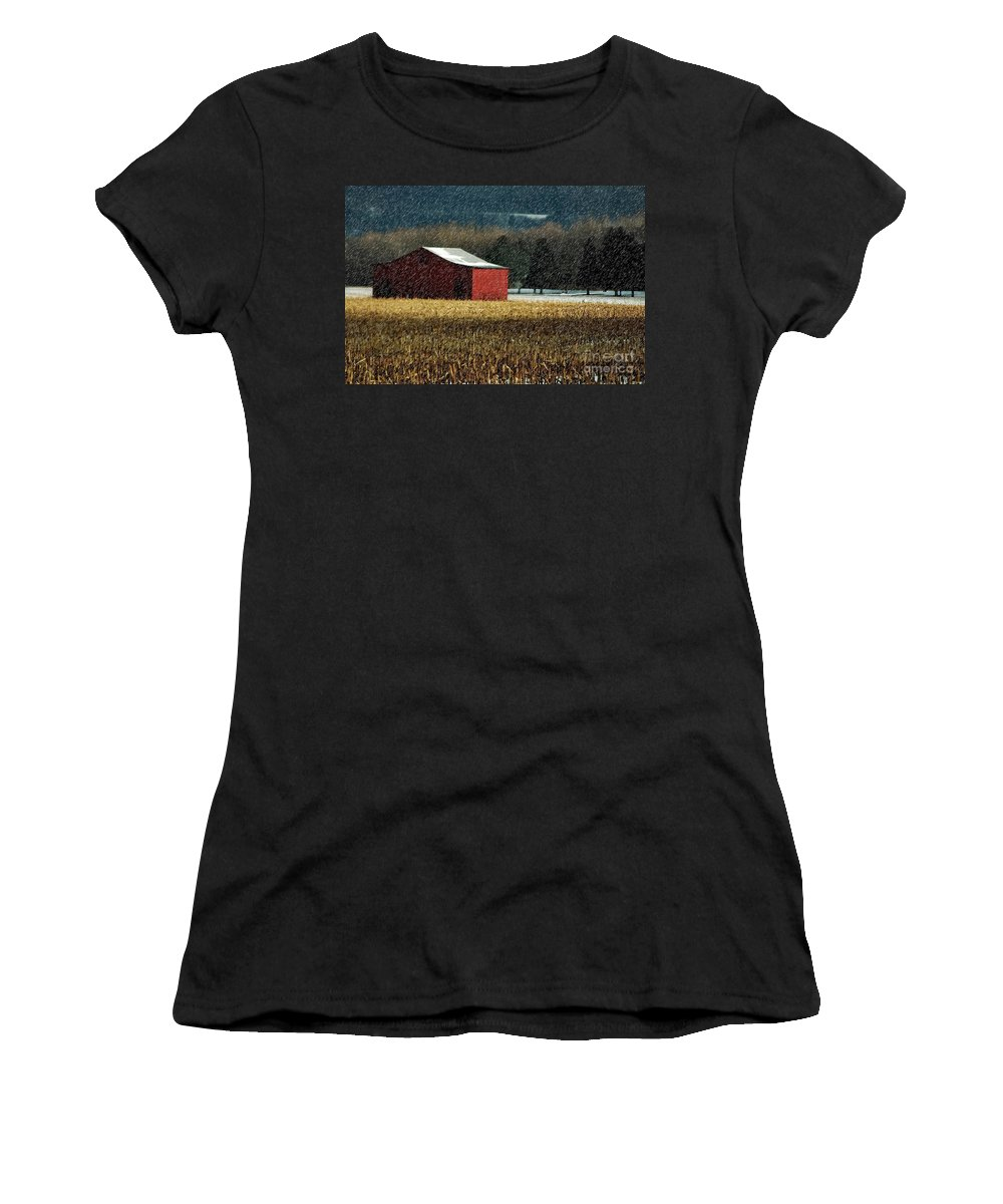 Barn Women's T-Shirt (Athletic Fit) featuring the photograph Snowy Red Barn In Winter by Lois Bryan