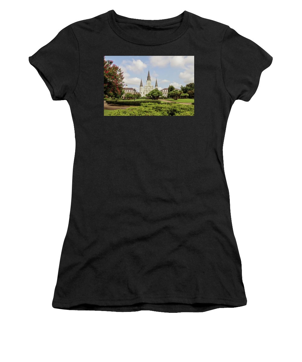 St. Louis Cathedral Women's T-Shirt (Athletic Fit) featuring the photograph St. Louis Cathedral - Hdr by Scott Pellegrin