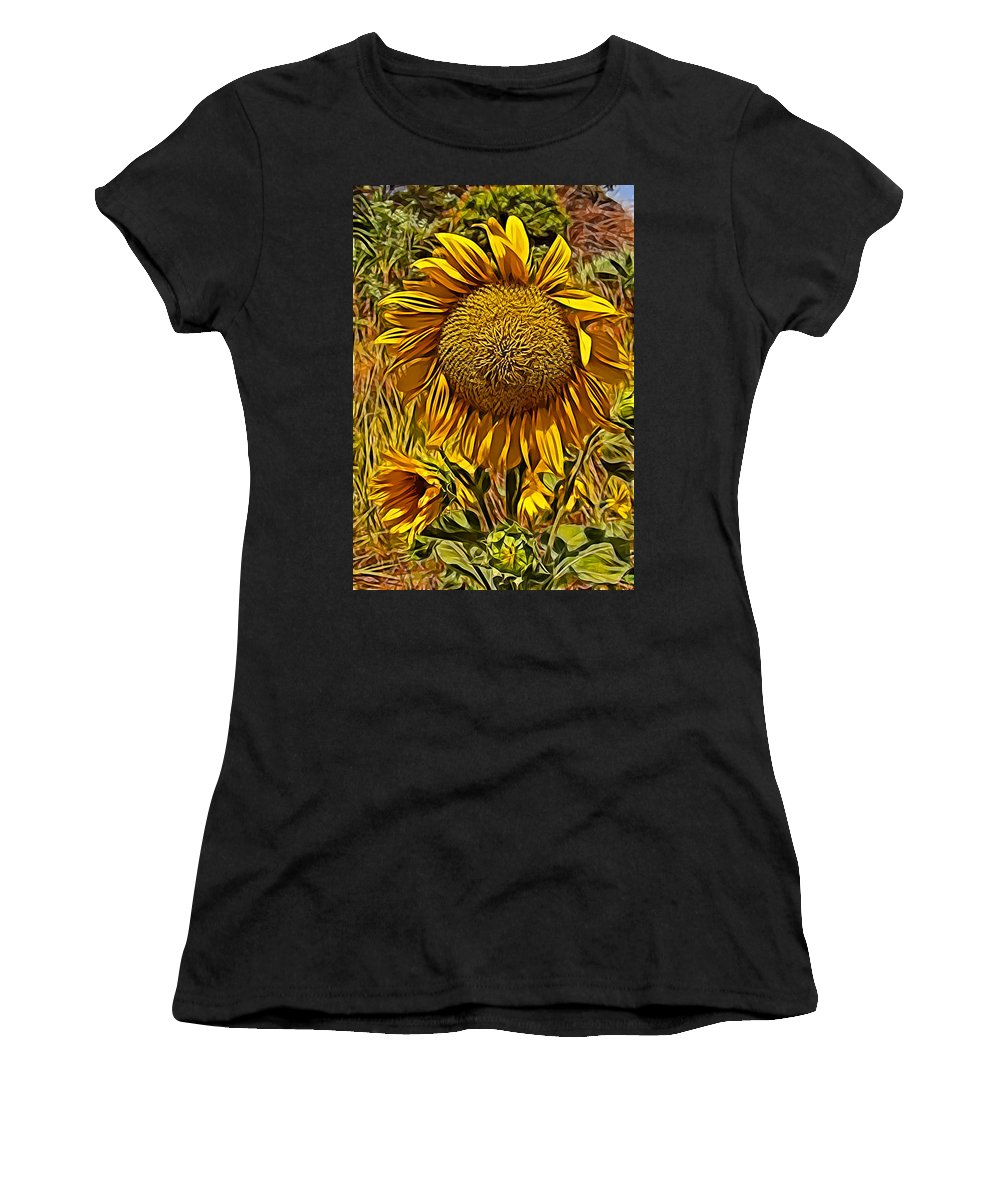 Sunflower Yellow Flower Blue Sky Grass Green Sunflower Yellow Flower Blue Sky Grass Green Framed Prints Women's T-Shirt (Athletic Fit) featuring the photograph Sunflower by Galeria Trompiz