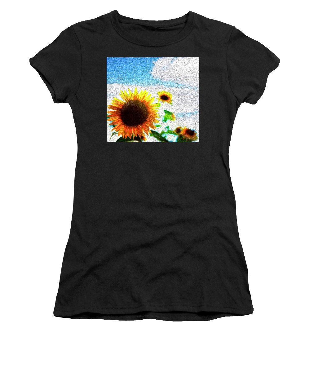Beautiful Women's T-Shirt featuring the digital art Sunflowers Abstract by Les Cunliffe