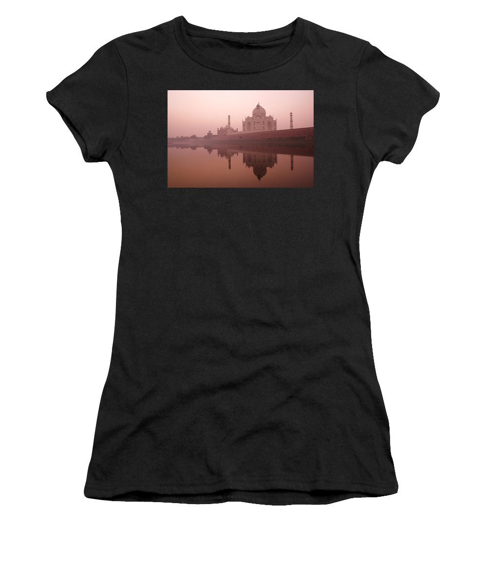 Taj Mahal Women's T-Shirt (Athletic Fit) featuring the photograph Taj Mahal At Dawn by Michele Burgess
