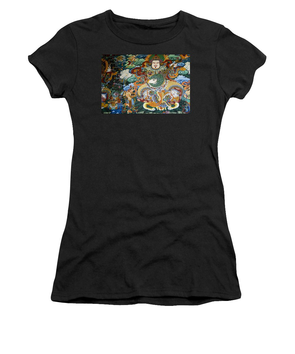 Asia Women's T-Shirt (Athletic Fit) featuring the photograph Tibetan Buddhist Mural by Michele Burgess