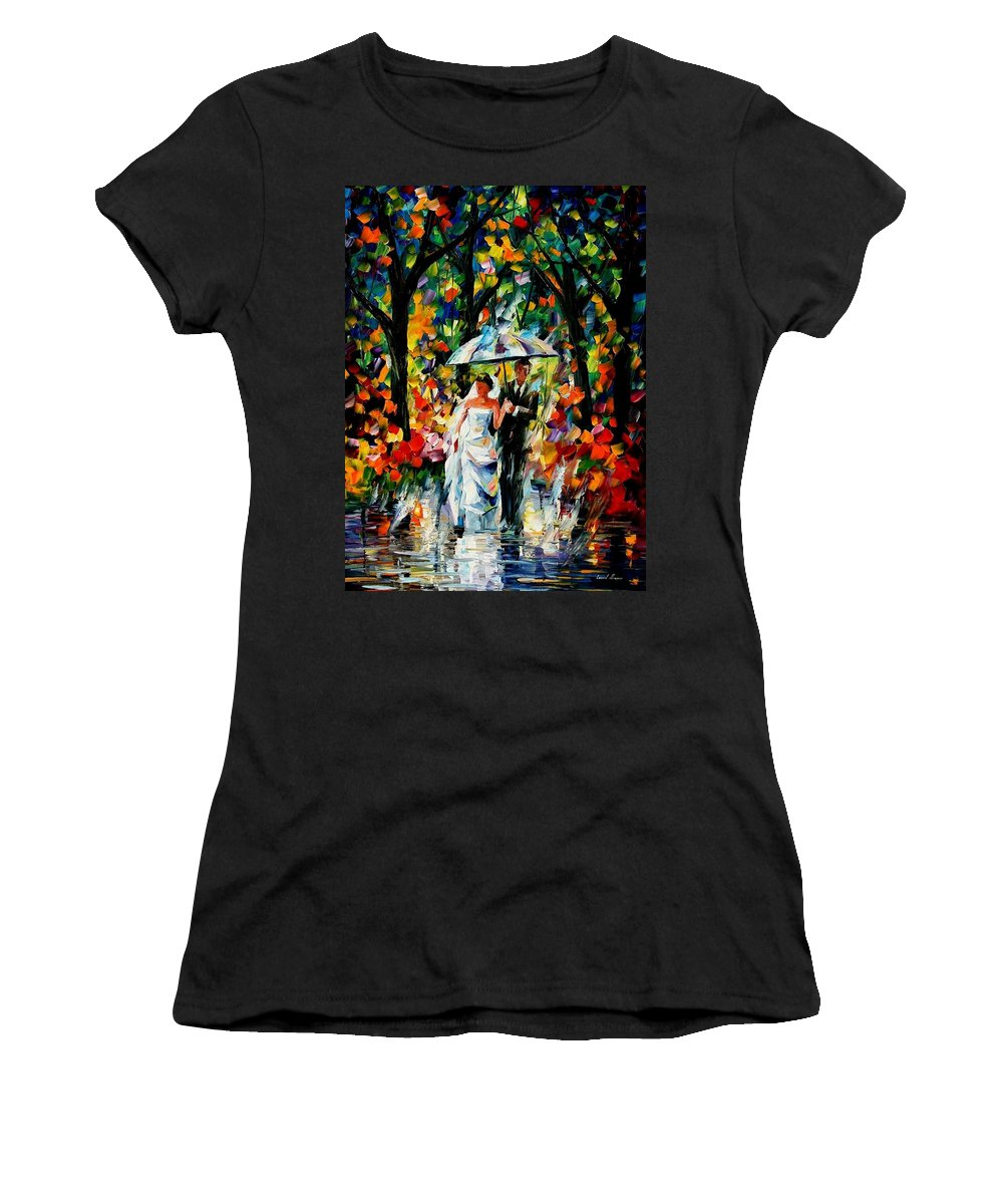 Women's T-Shirt (Athletic Fit) featuring the painting Wedding Under The Rain by Leonid Afremov