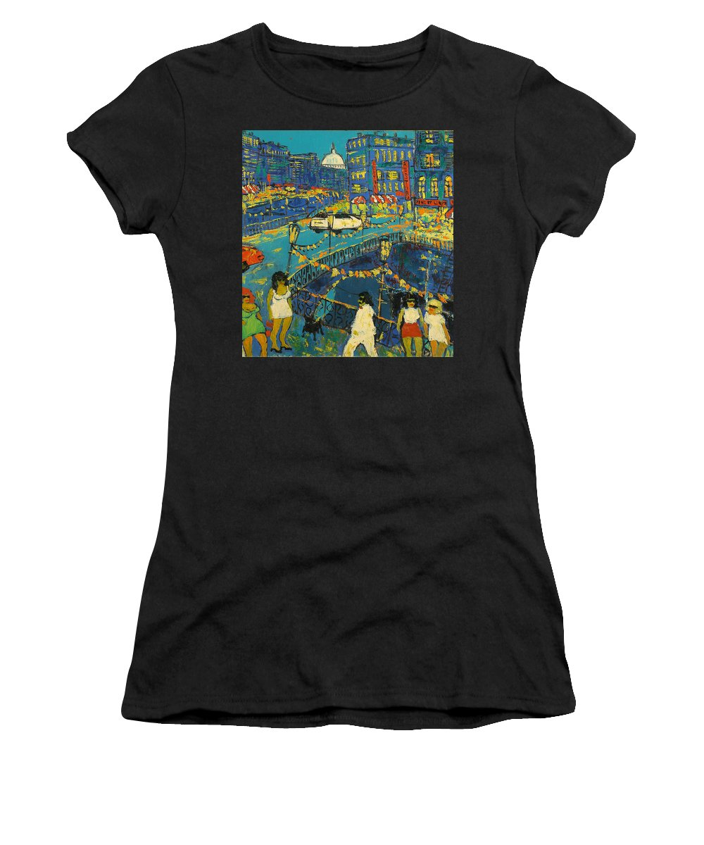 People Women's T-Shirt featuring the painting City by Robert Nizamov