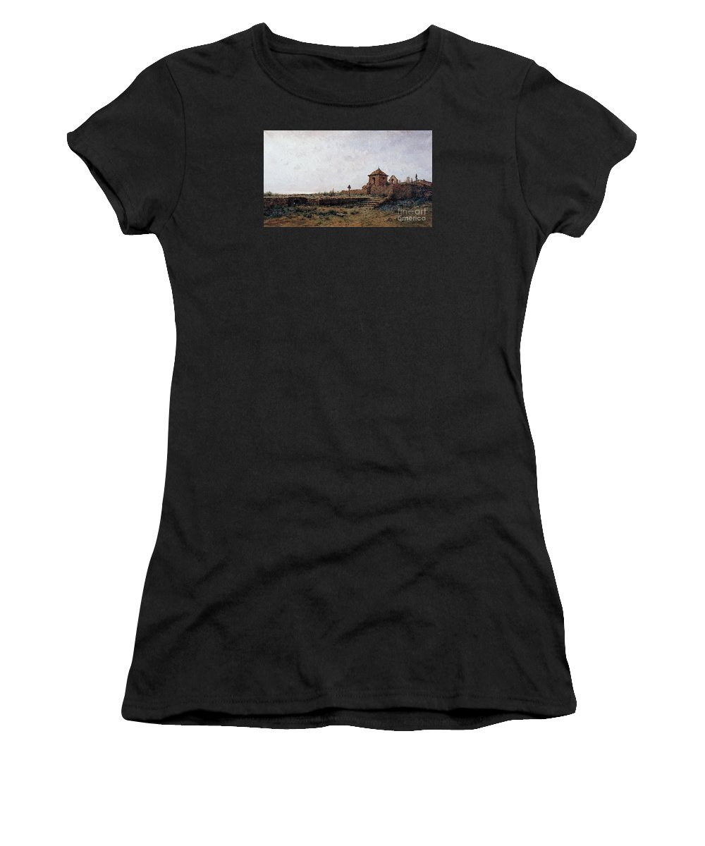 Modest Urgell - Landscape Women's T-Shirt (Athletic Fit) featuring the painting Landscape by Celestial Images
