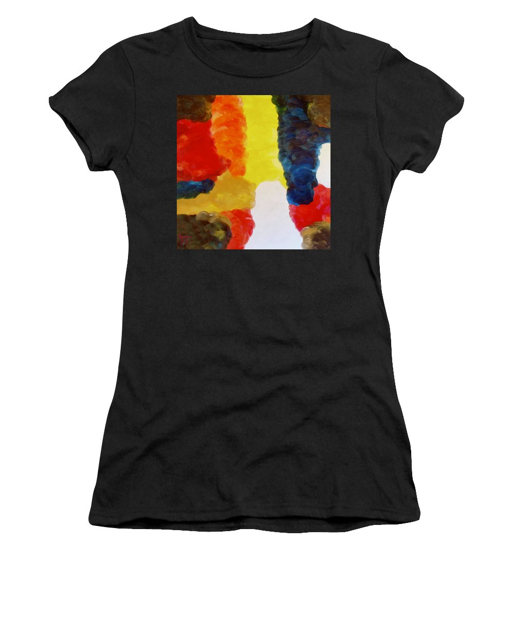 Clouds In Color Women's T-Shirt (Athletic Fit) featuring the painting Cloudworks by Troy Thomas