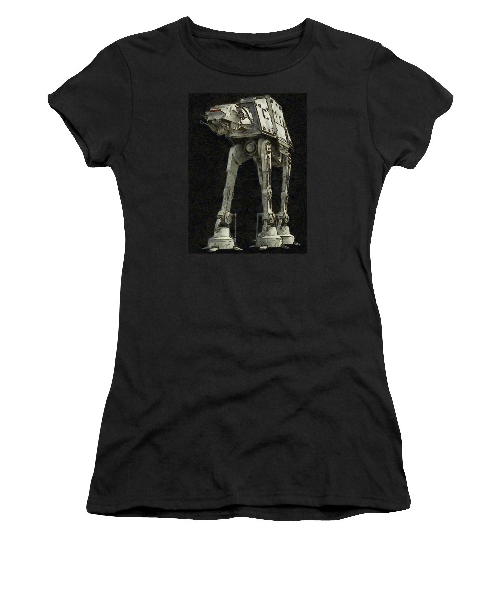 Star Wars Women's T-Shirt (Athletic Fit) featuring the digital art Star Wars by Elena Kosvincheva