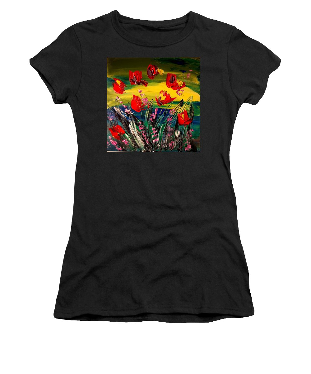 Landscape Framed Prints Women's T-Shirt (Athletic Fit) featuring the painting Tulips by Mark Kazav
