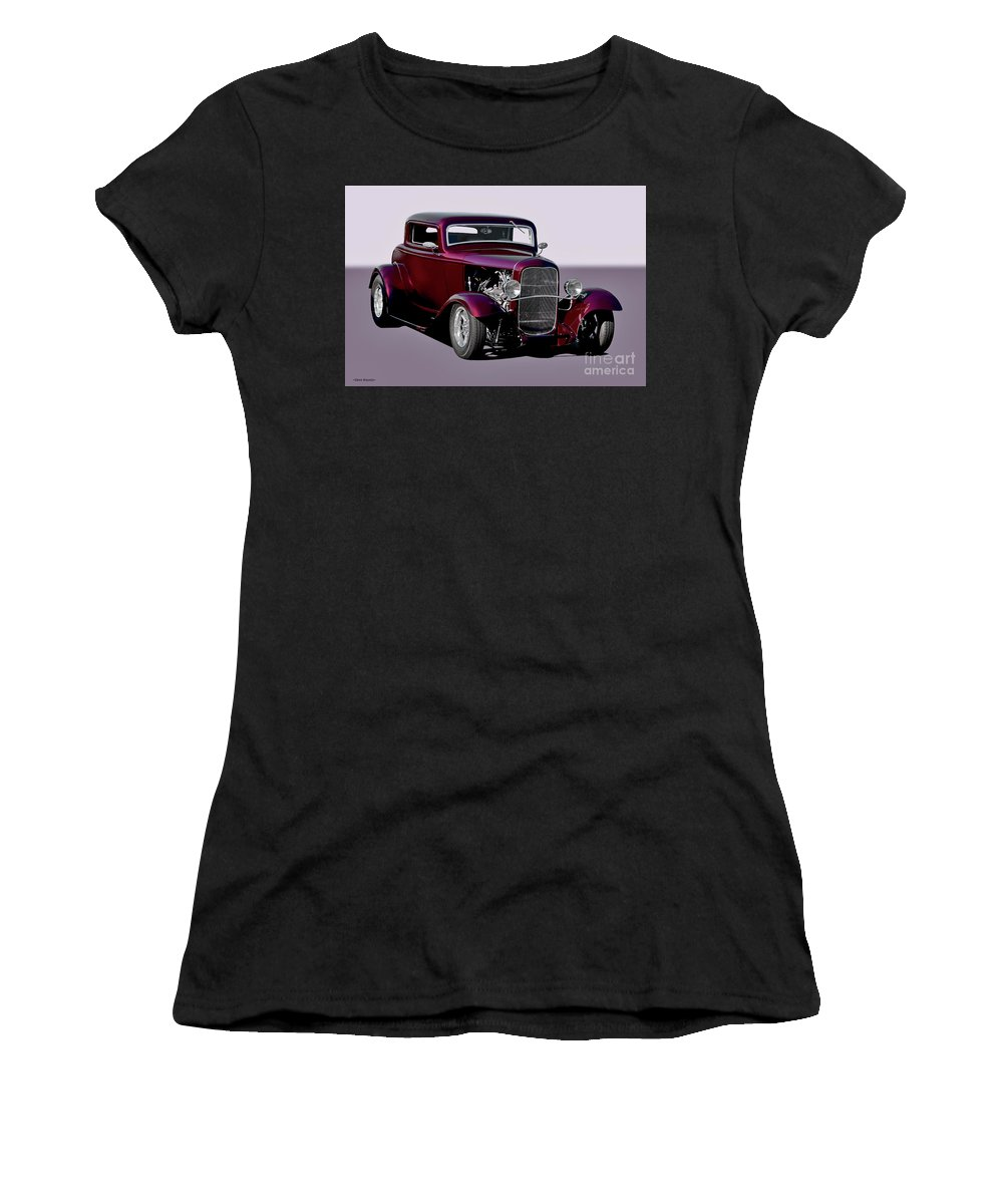 Auto Women's T-Shirt featuring the photograph 1932 Ford 'three Window' Coupe  by Dave Koontz