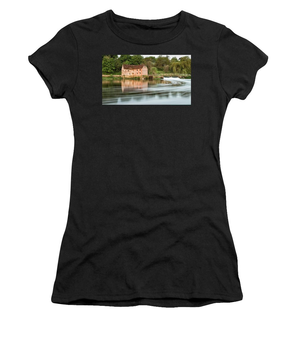 Landscape Women's T-Shirt featuring the photograph Early Morning View Across River Stour To Sturminster Newton Mill In Dorset. by Matthew Gibson