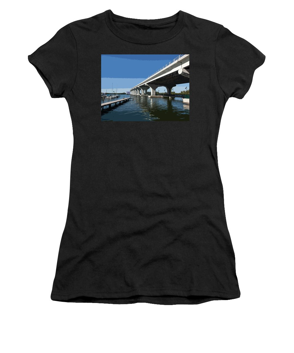 Florida Women's T-Shirt featuring the painting Indian River Lagoon At Vero Beach In Florida by Allan Hughes