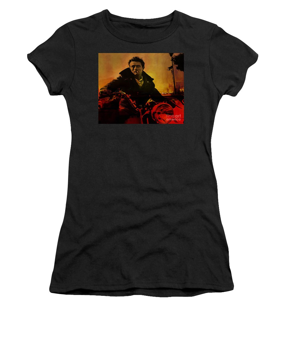 James Dean Paintings Mixed Media Women's T-Shirt featuring the mixed media James Dean by Marvin Blaine