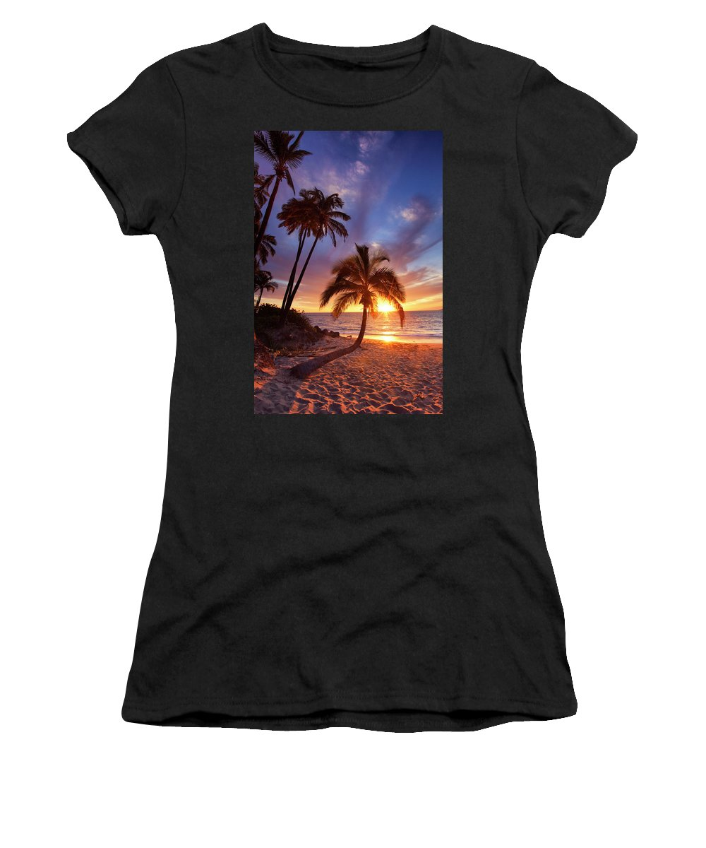 Maui Hawaii Seascape Sunset Palmtrees Ocean Beach Women's T-Shirt (Athletic Fit) featuring the photograph Lonely Palm by James Roemmling