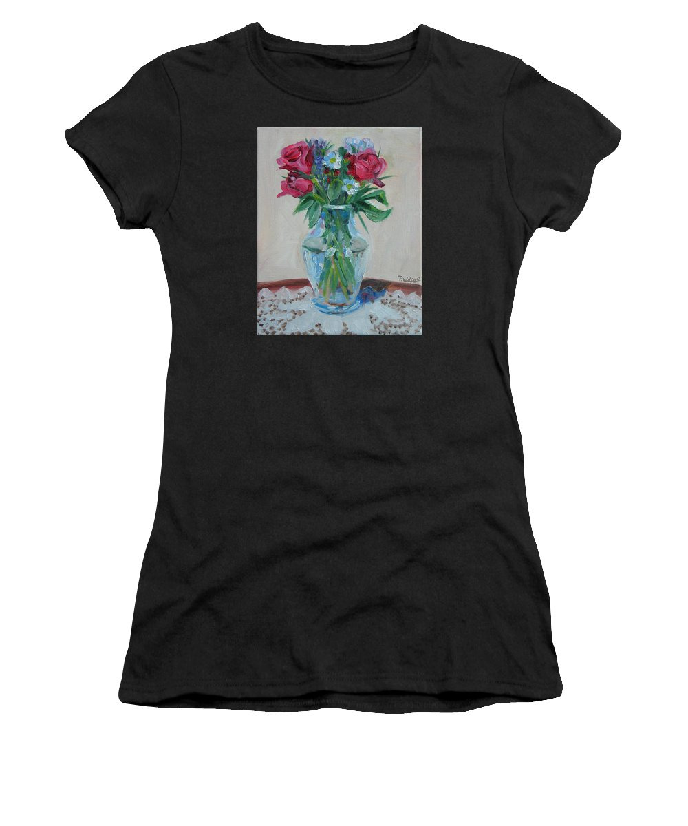 Roses Women's T-Shirt (Athletic Fit) featuring the painting 3 Roses by Paul Walsh