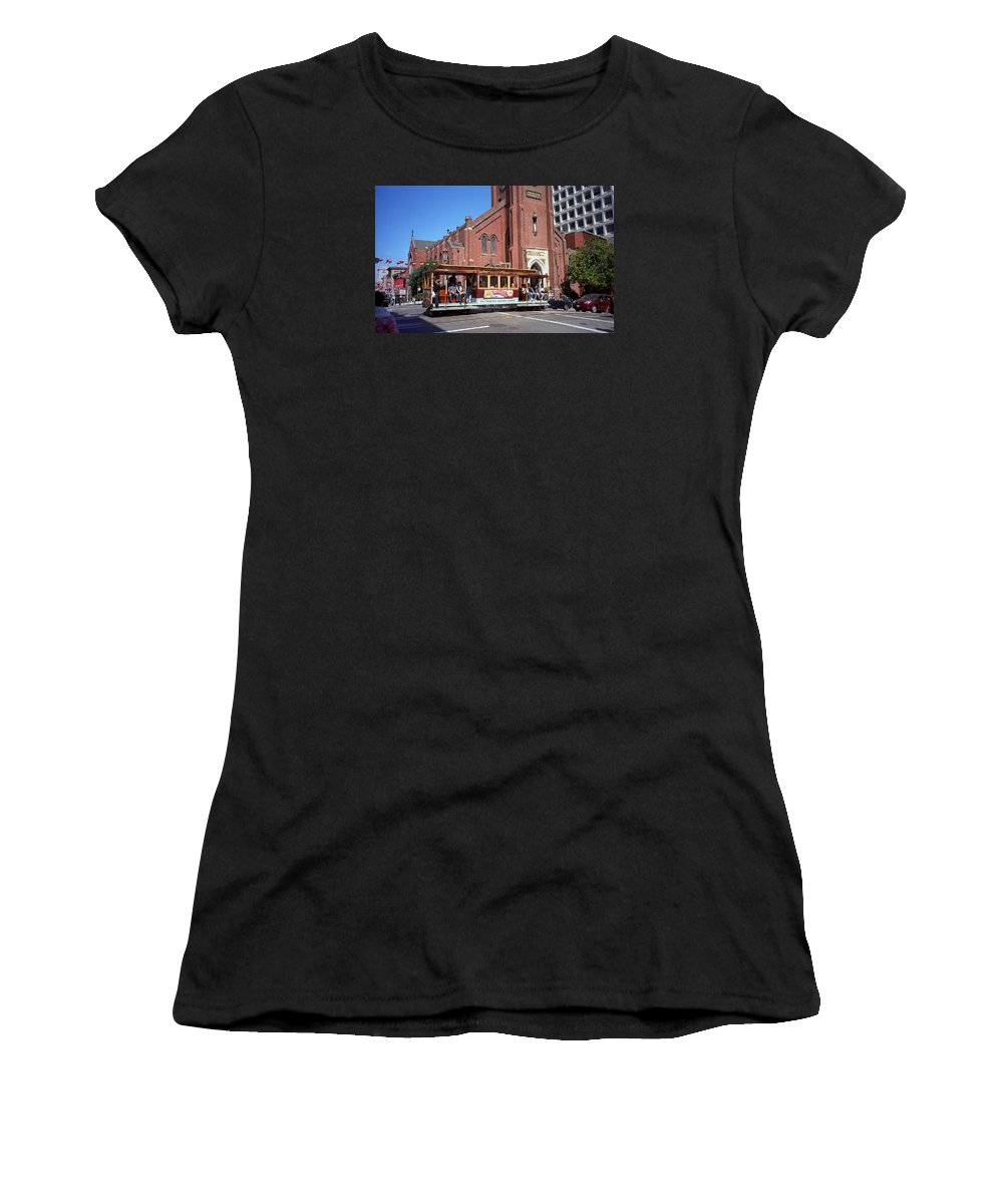 America Women's T-Shirt (Athletic Fit) featuring the photograph San Francisco Cable Car by Frank Romeo