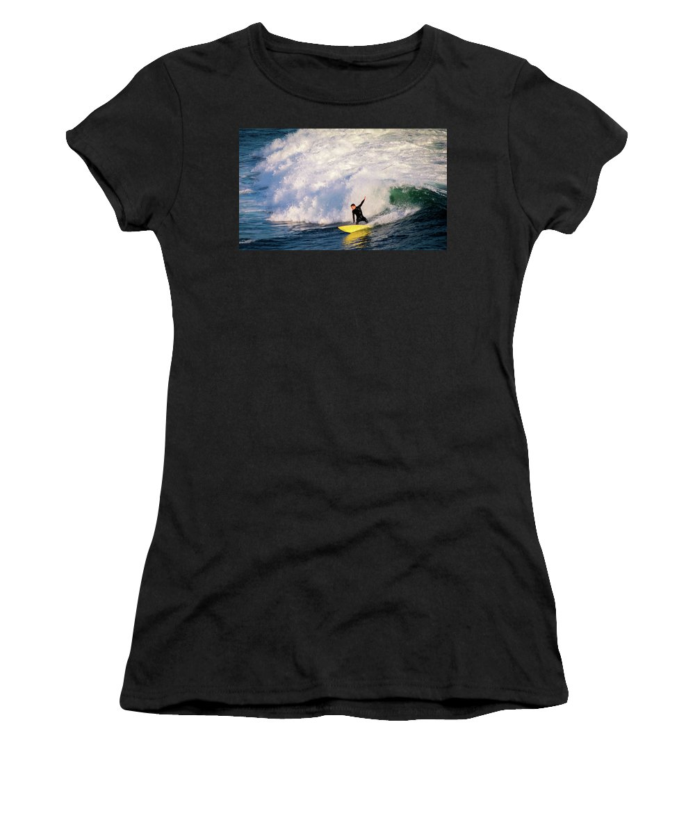 Women's T-Shirt (Athletic Fit) featuring the photograph Santa Cruz Sunset by Janine Moore