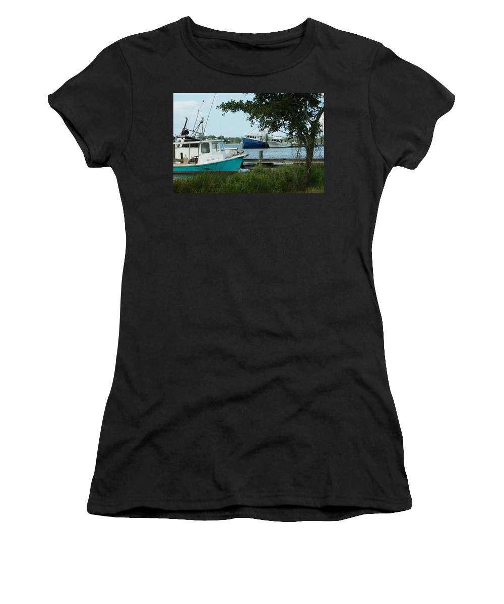 Water Women's T-Shirt (Athletic Fit) featuring the painting 3 Shrimp Boat At Billys by Michael Thomas