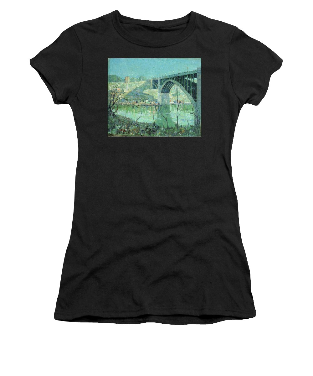 Ernest Lawson Women's T-Shirt featuring the photograph Spring Night Harlem River by Ernest Lawson