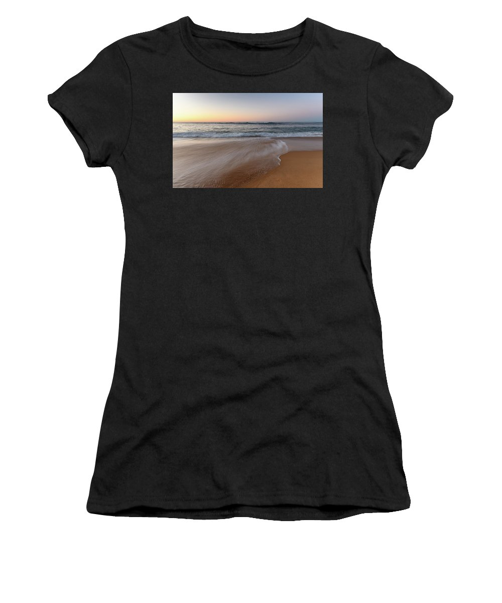 Forresters Beach Women's T-Shirt featuring the photograph Sunrise Beach Seascape by Merrillie Redden