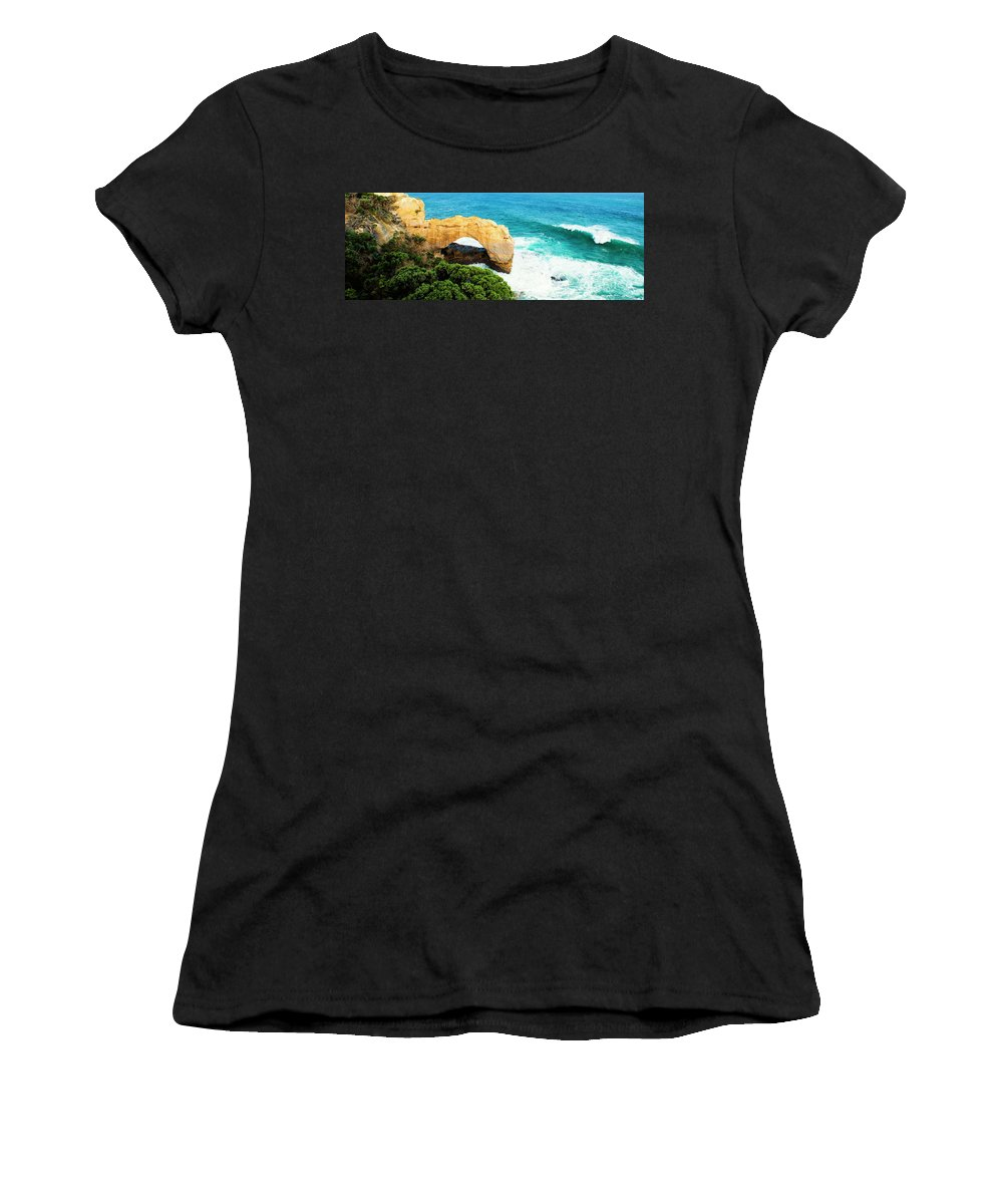 Arch Women's T-Shirt (Athletic Fit) featuring the photograph The Arch At Port Campbell National Park by Rob D