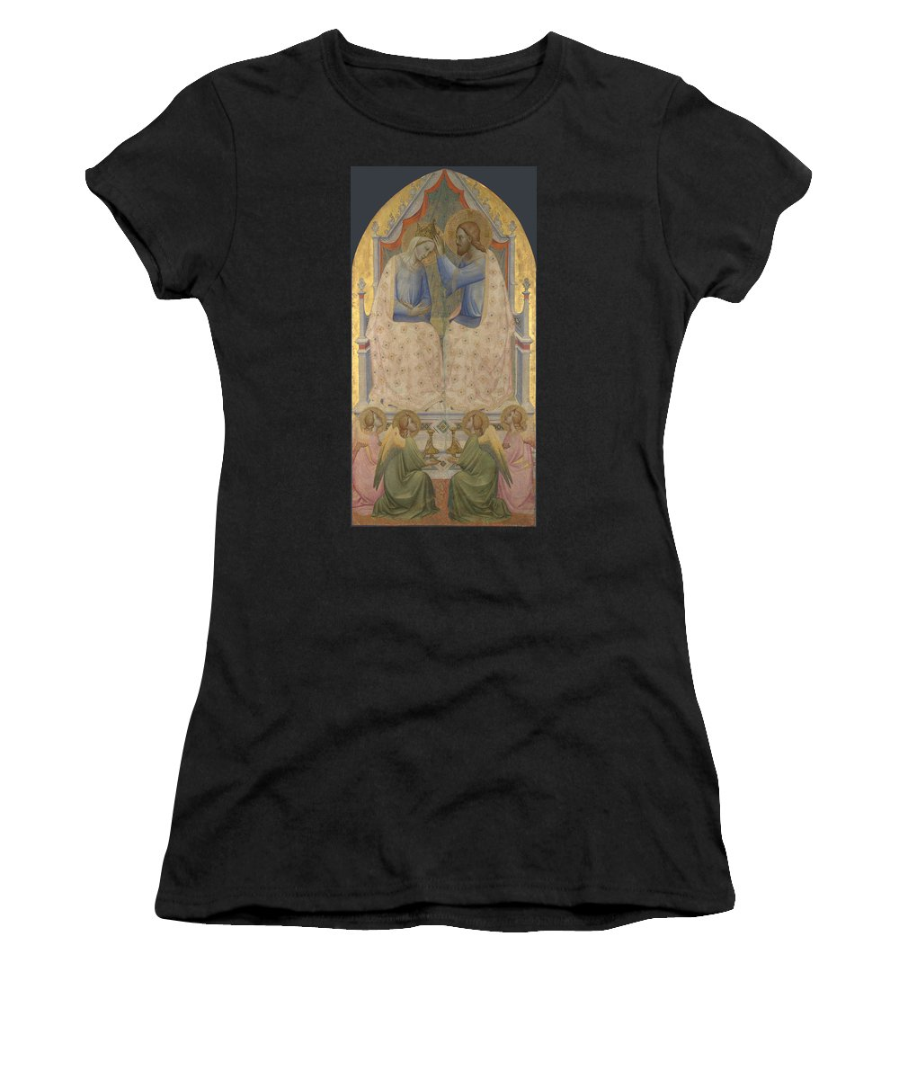 Agnolo Women's T-Shirt (Athletic Fit) featuring the digital art The Coronation Of The Virgin by PixBreak Art