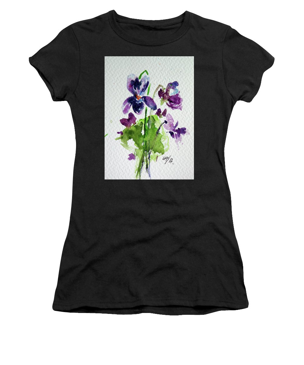 Violet Women's T-Shirt (Athletic Fit) featuring the painting Violet by Kovacs Anna Brigitta