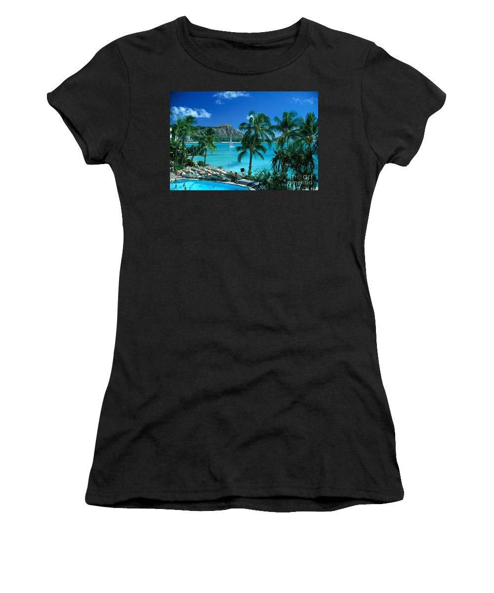 Afternoon Women's T-Shirt featuring the photograph Waikiki And Diamond Head by Tomas del Amo - Printscapes
