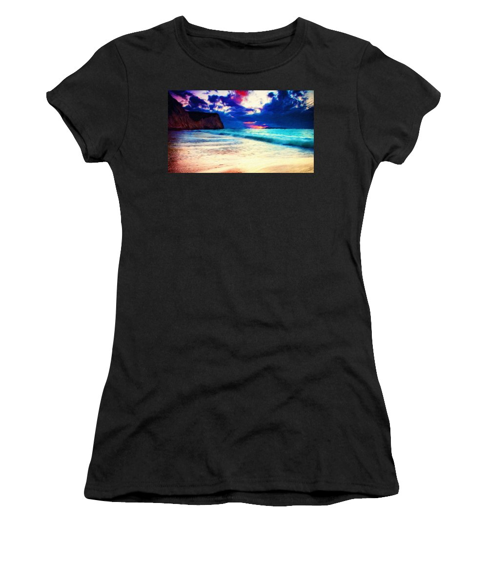 Landscape Women's T-Shirt (Athletic Fit) featuring the painting Landscape Nature by World Map