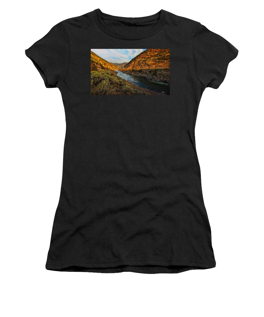 Landscape Women's T-Shirt (Athletic Fit) featuring the painting Nature Art Landscape by World Map